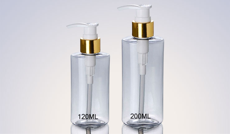 New Design Golden Pump Cosmetic container Caps Clear 120Ml 200Ml Plastic Pet Bottle