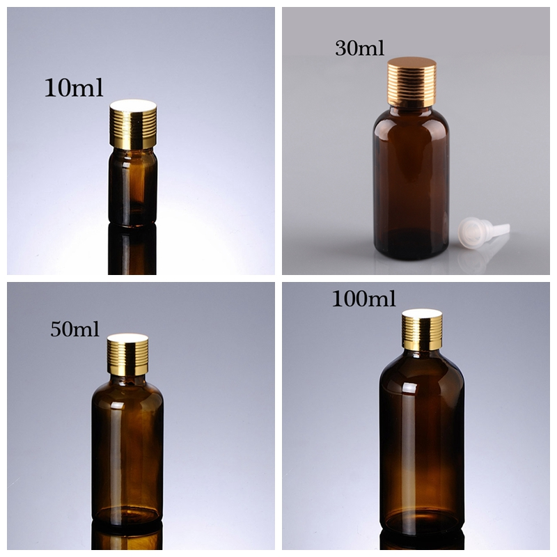 Fashion Packaging Golden Alumina Cap Glass Olive Oil Bottle Essential Oil Dropper 10Ml - 100Ml Cosmetic Glass Bottle